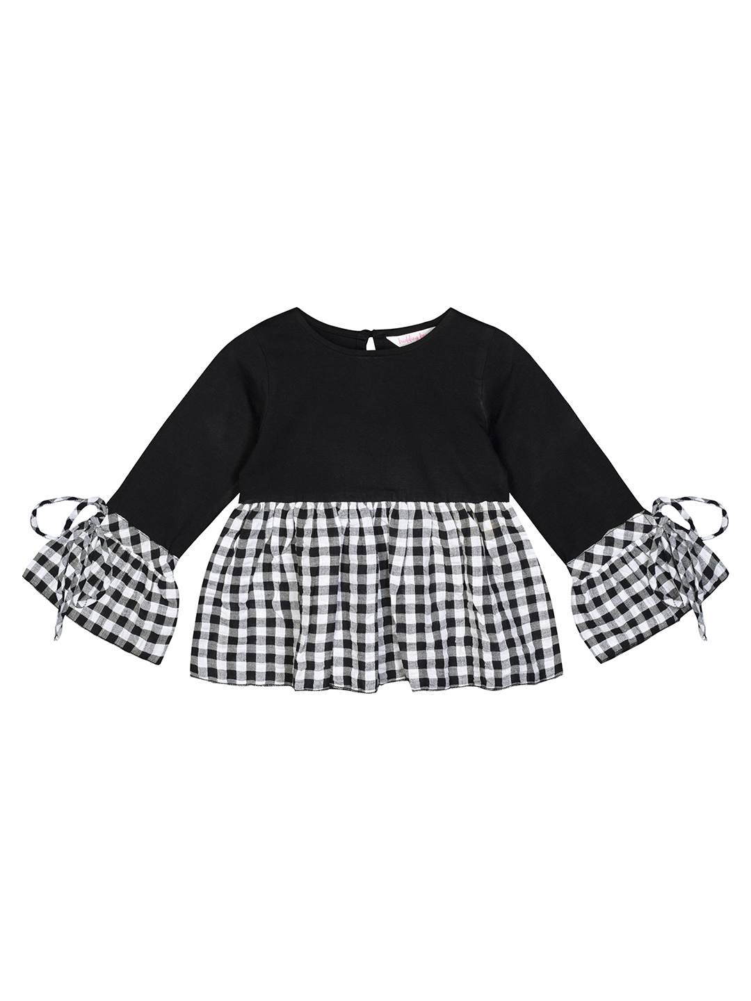 Budding Bees | Budding Bees Baby Girls Black Jersey With Check Top