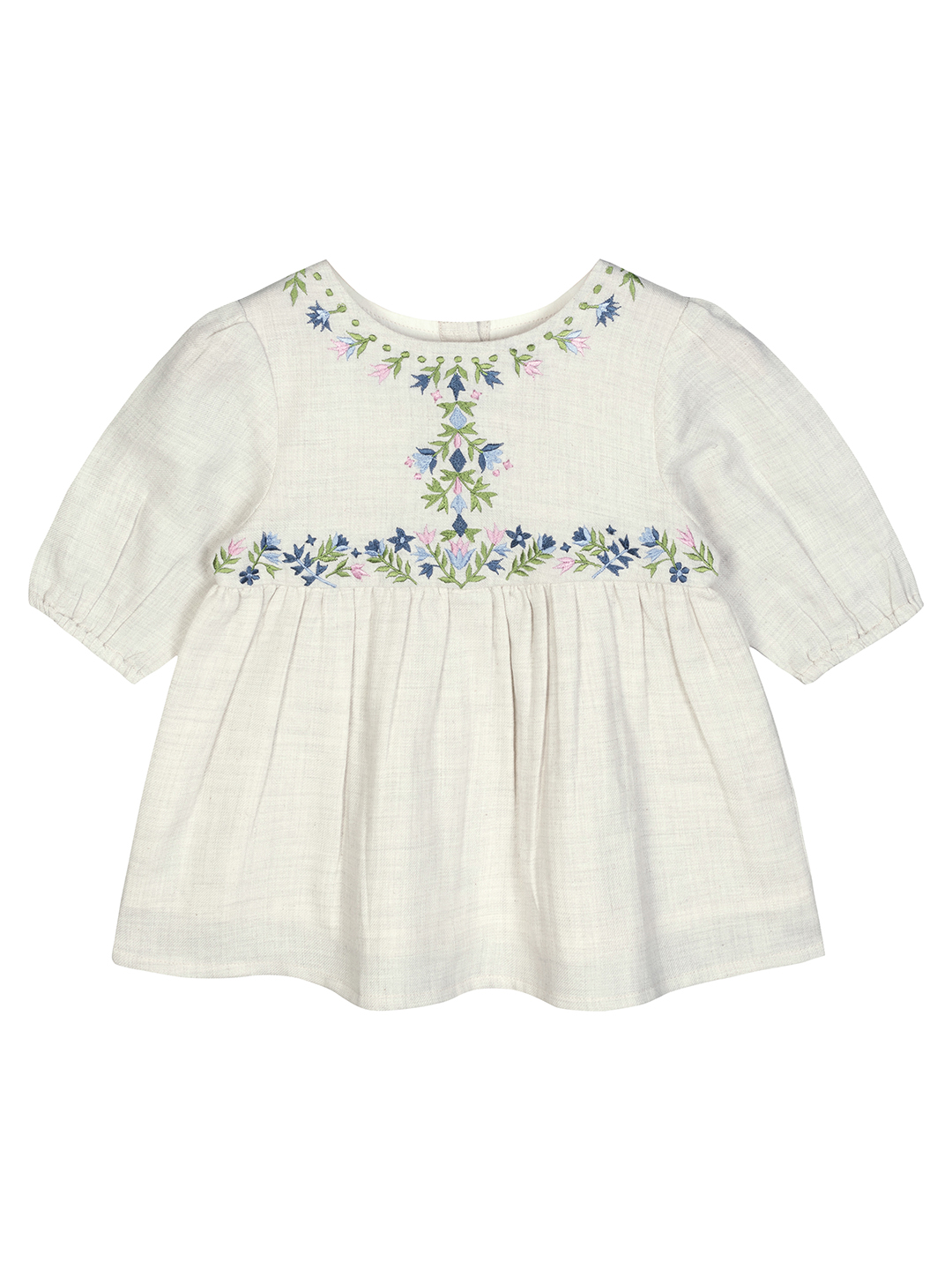 Budding Bees | Budding Bees Baby Girls Embroidered Melange Grey Top