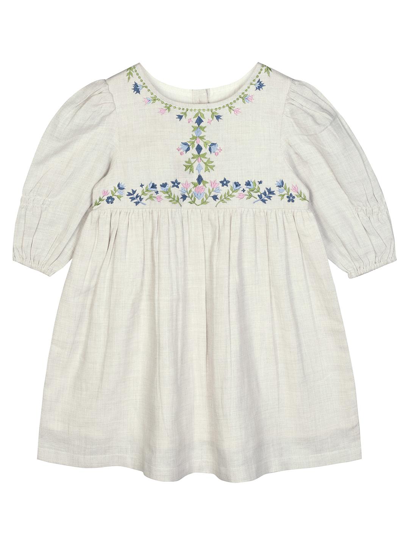 Budding Bees | Budding Bees Girls Grey Melange Embroidered Dress