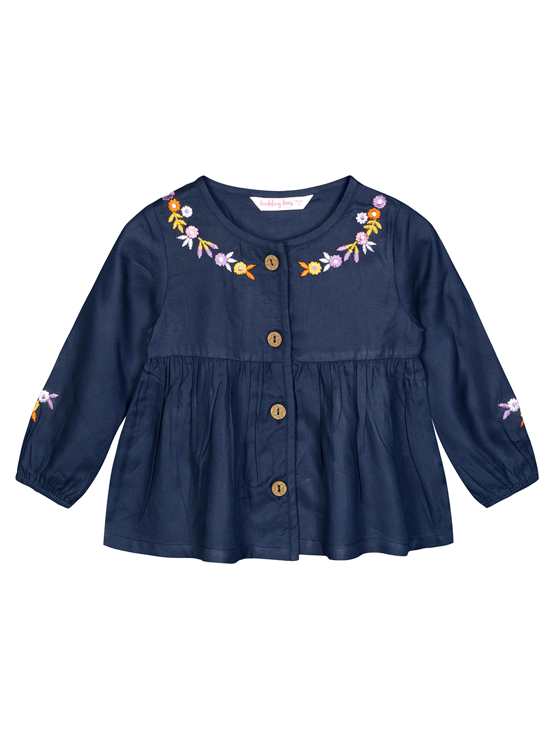 Budding Bees | Budding Bees Baby Girls Blue Embroidered Top