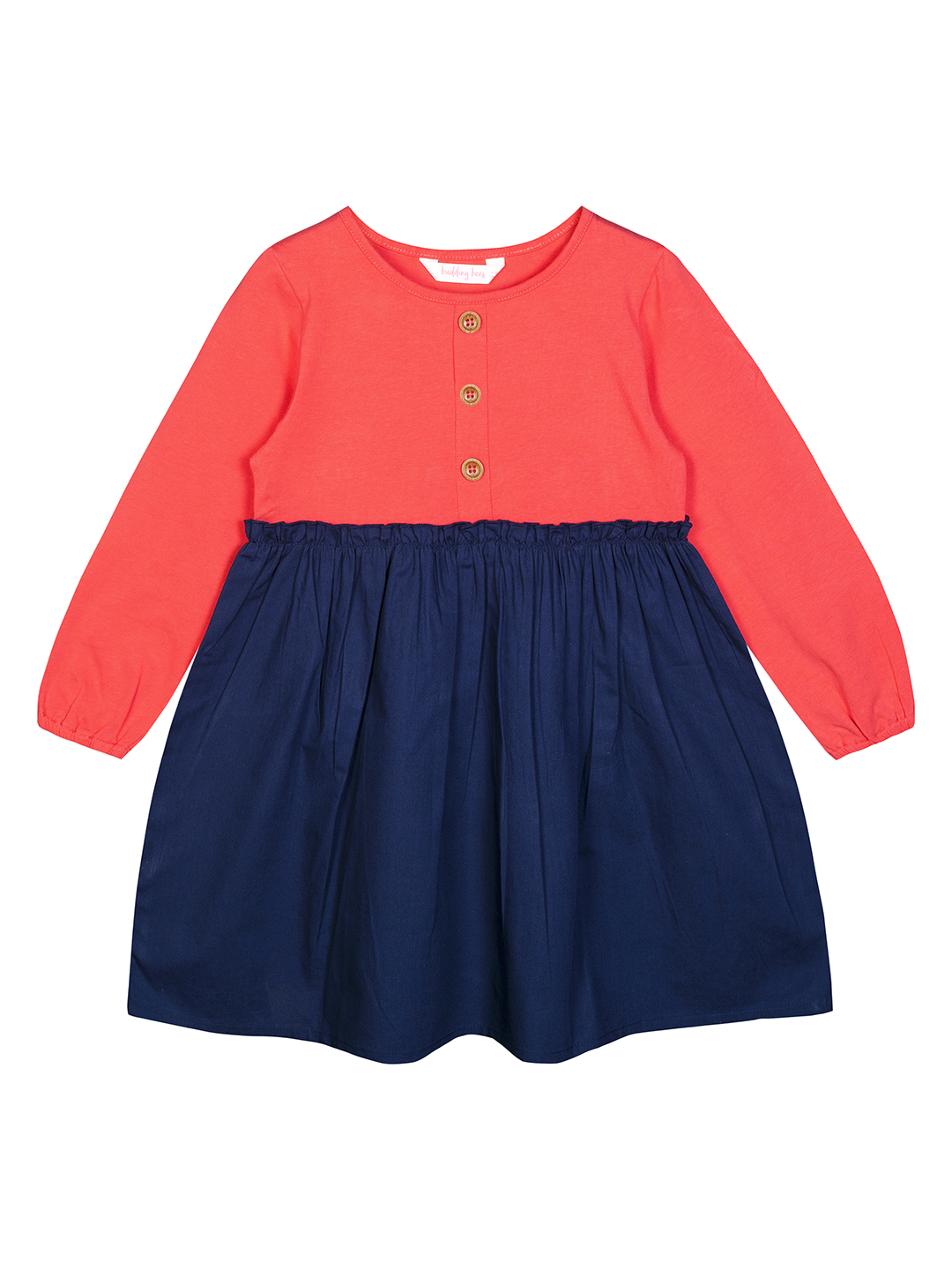 Budding Bees   Budding Bees Girls Red & Blue Solid Dress
