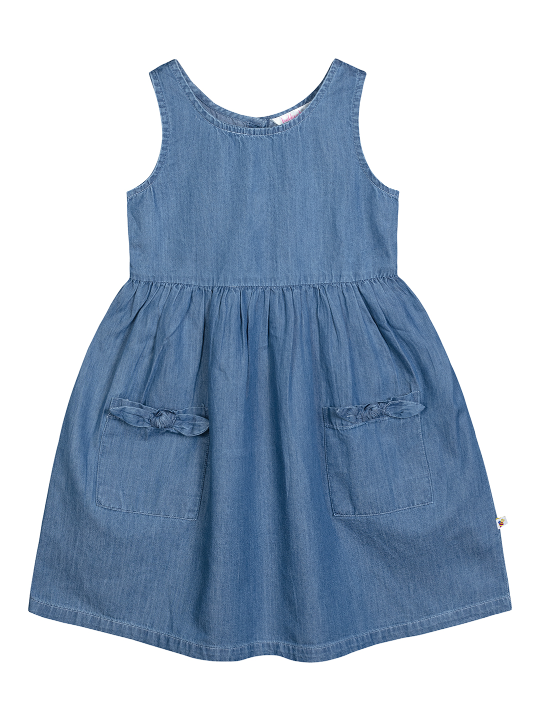 Budding Bees | BUDDING BEES DENIM DRESS WITH BOW POCKETS-BLUE