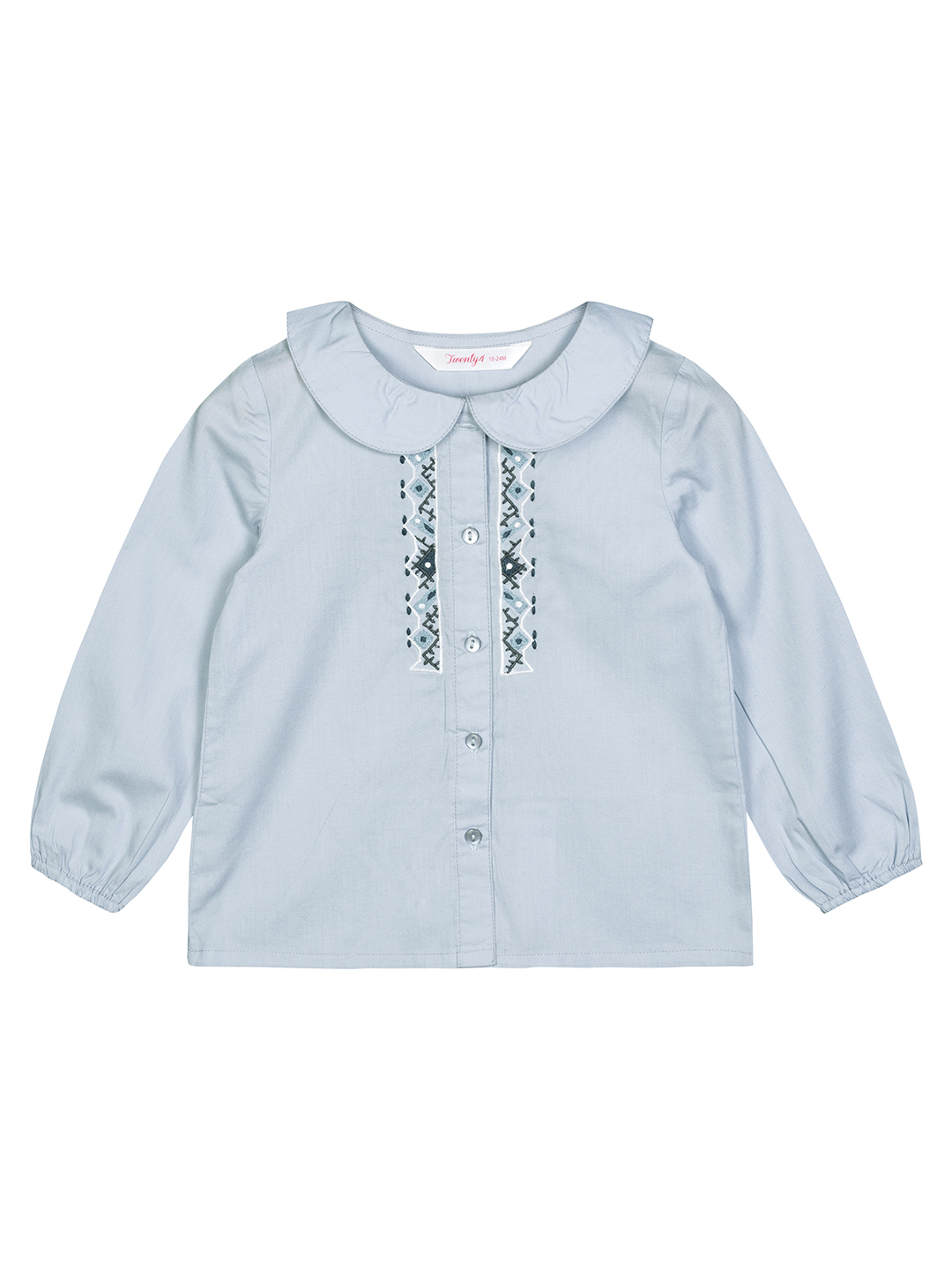 Budding Bees | Budding Bees Baby Girls Blue Placket Embroidered Top