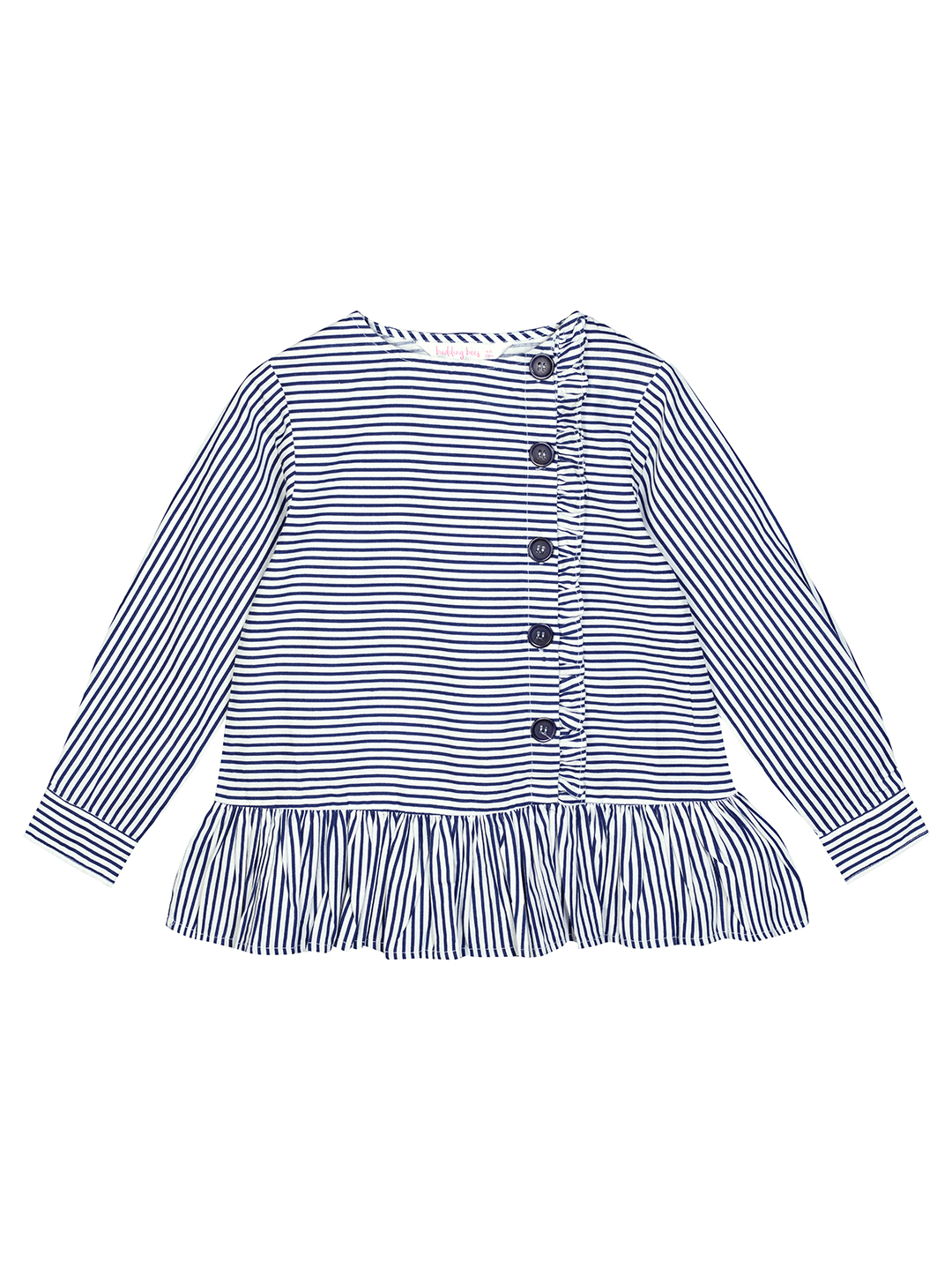 Budding Bees | Budding Bees Girls Blue Striped With Side Button Closer Top