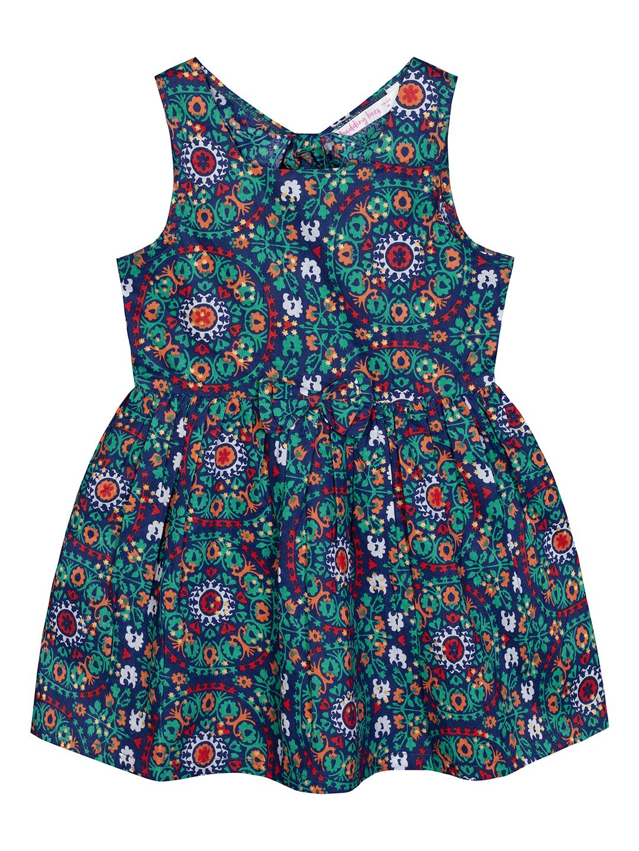 Budding Bees | Budding Bees Infants Geometric Printed Dress-Blue