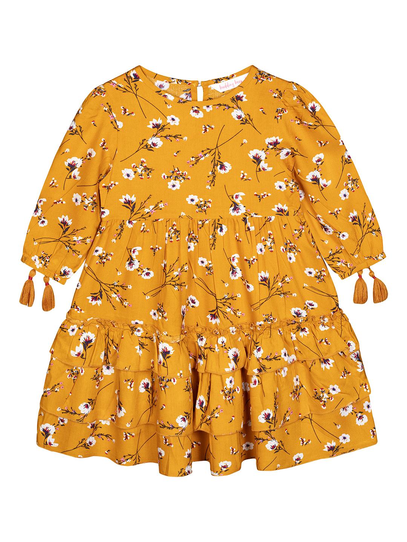 Budding Bees | Budding Bees Girls Mustard Tier Dress