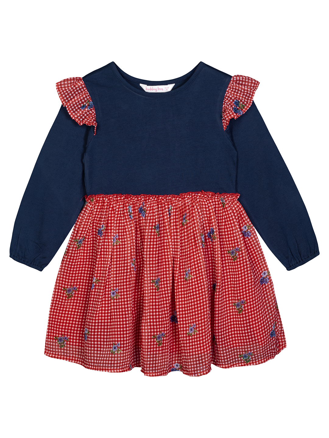 Budding Bees | Budding Bees Baby Girls Red Georgette Printed Dress