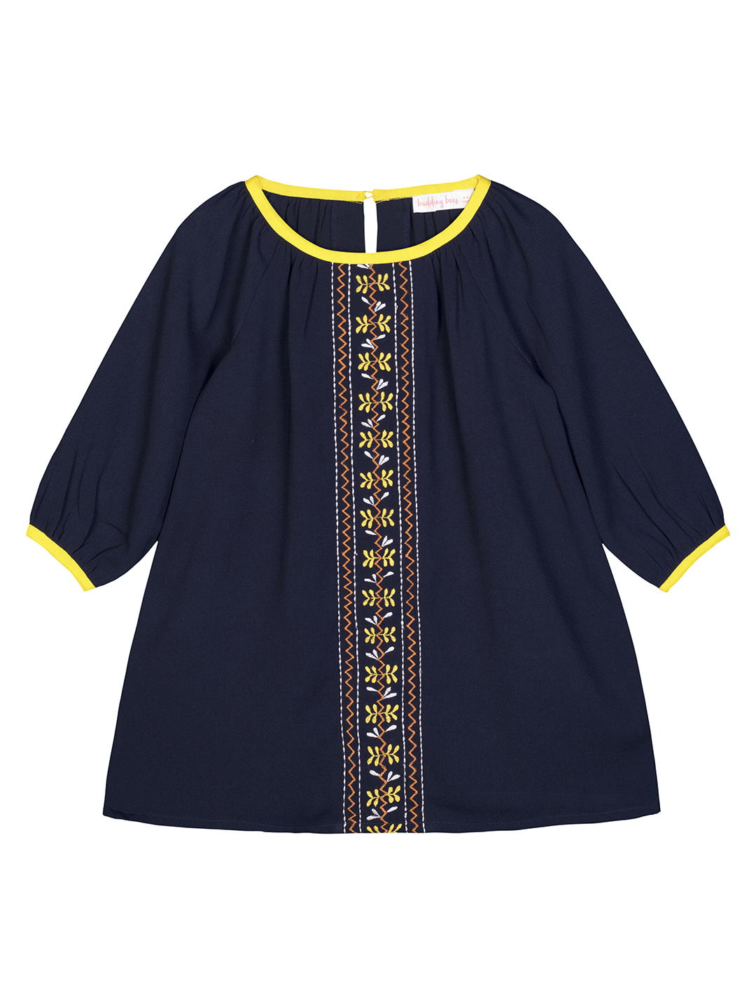 Budding Bees | Budding Bees Girls Blue Solid Embroidered Dress