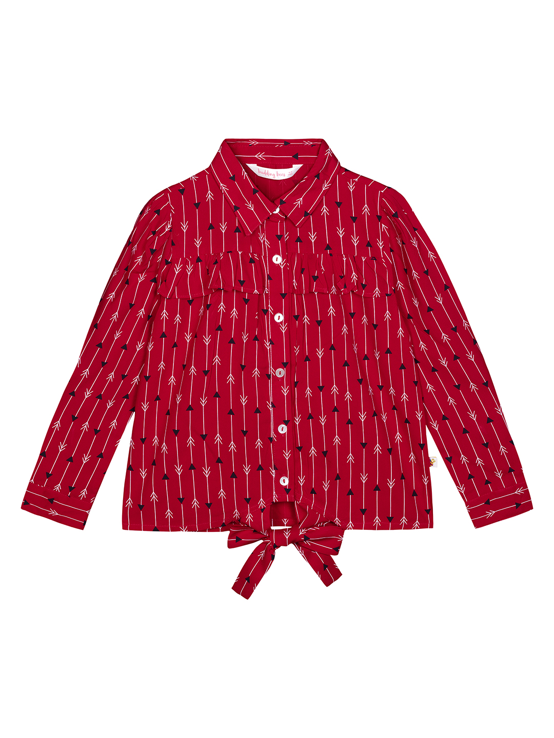 Budding Bees | Budding Bees Girls Red Floral Bottom Knotted Top