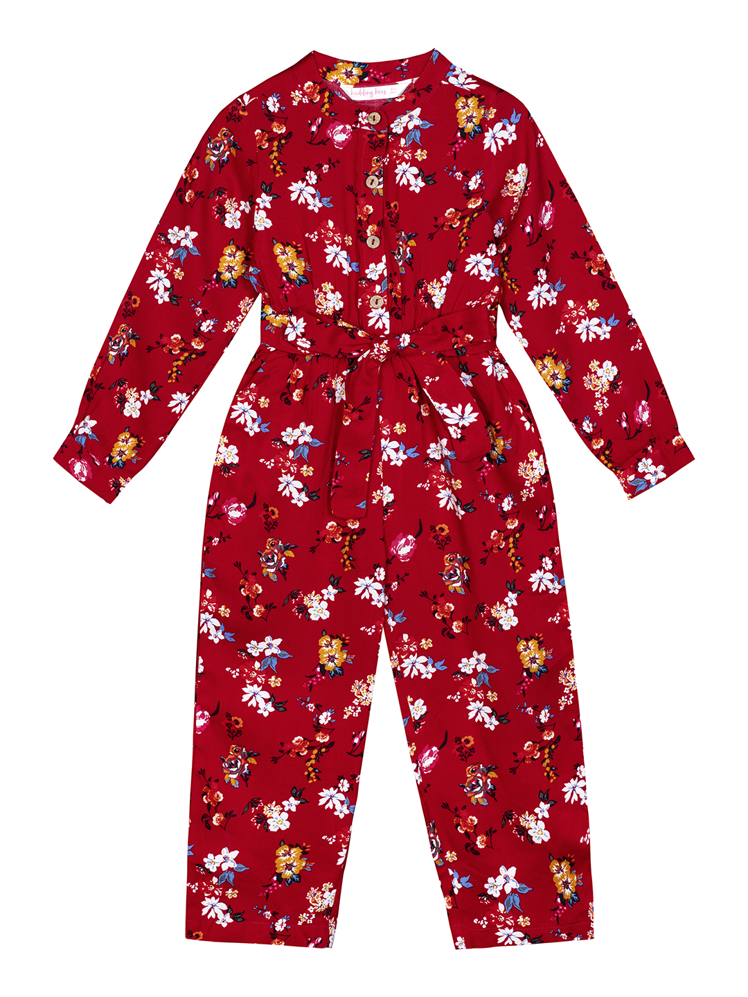 Budding Bees   Budding Bees Girls Red Floral Jumpsuit