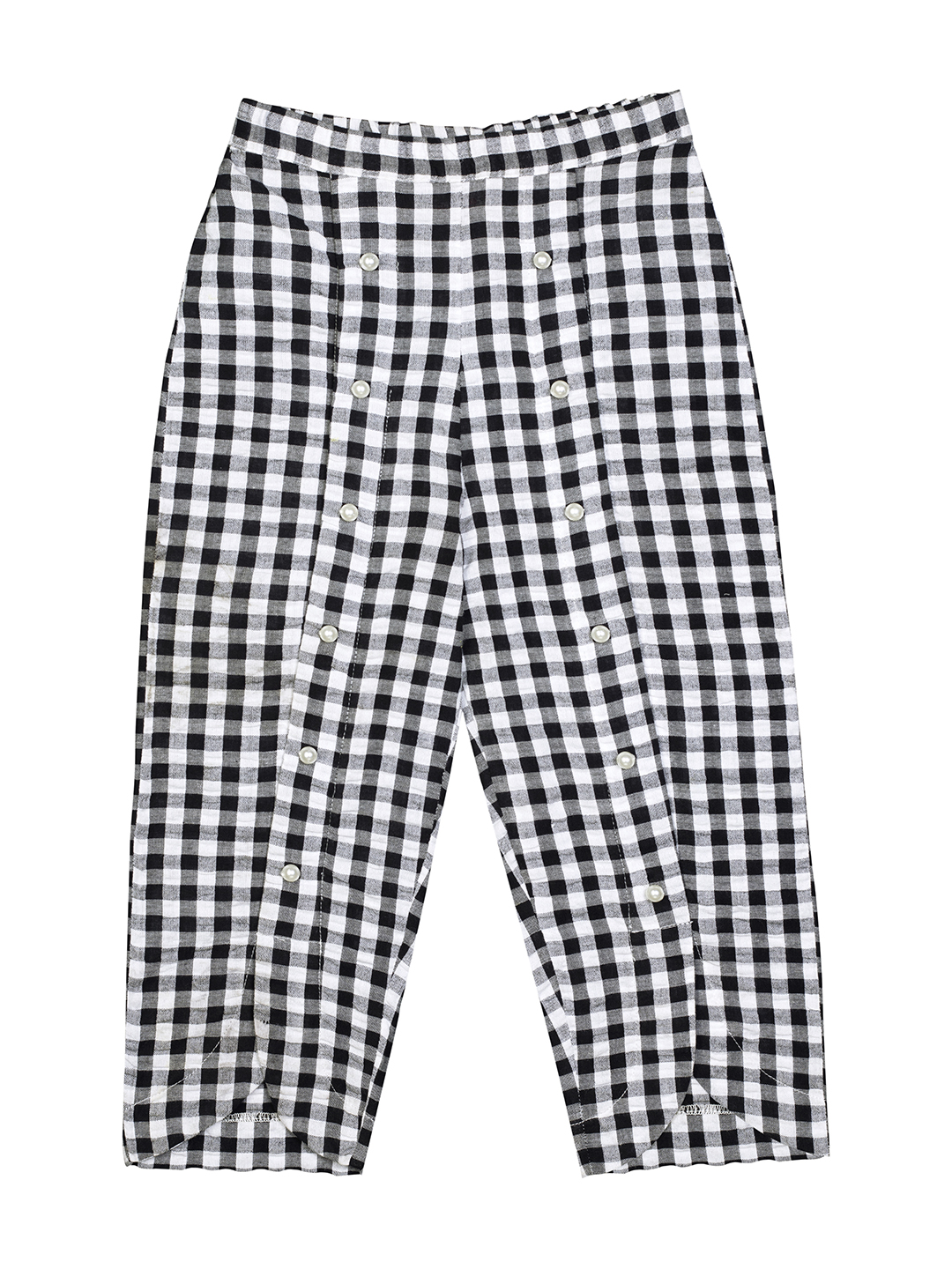 Budding Bees | Budding Bees Girls Black Check With Beaded Applique Trouser