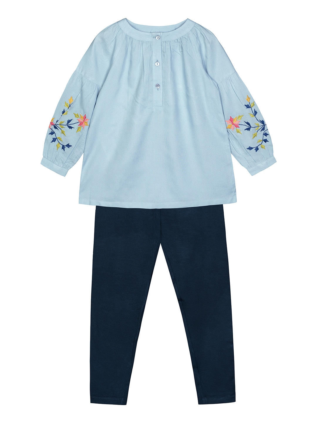 Budding Bees | Budding Bees Girls Sky Blue Top with Legging Top