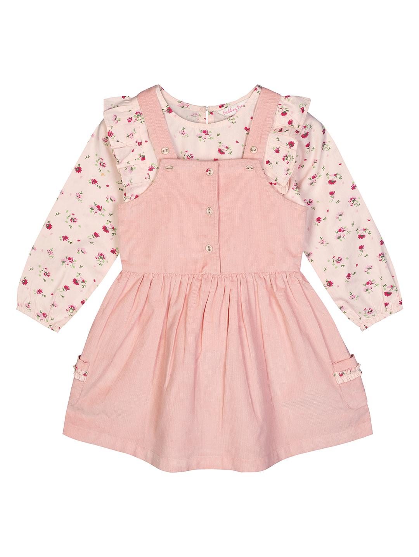 Budding Bees   Budding Bees Baby Girls Pink T-Shirt with Dungaree Set
