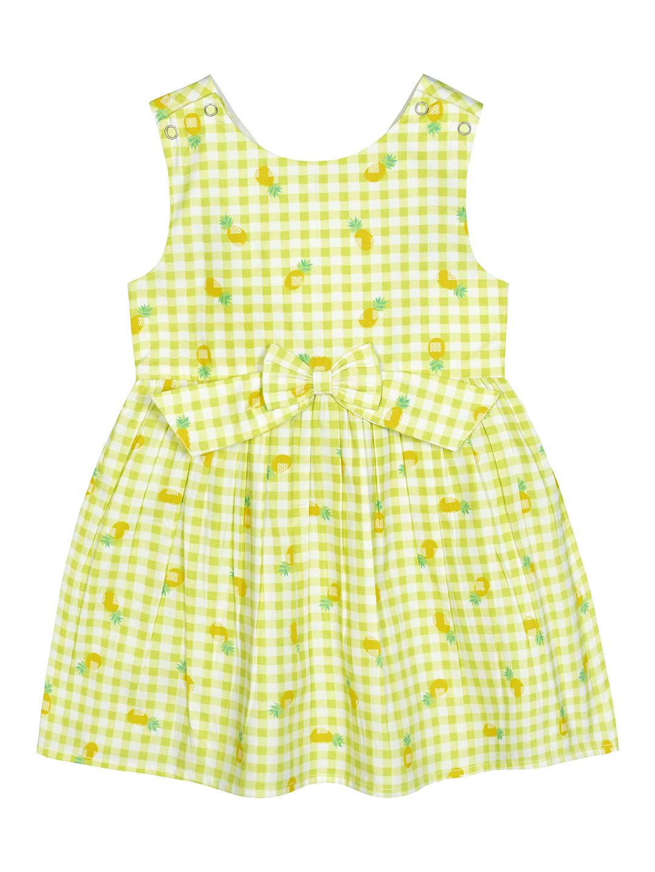 Budding Bees | Budding Bees Infant Checked Printed Dress-Lemon Yellow