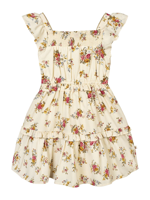 Budding Bees | Budding Bees Girls Tier Dress-Cream