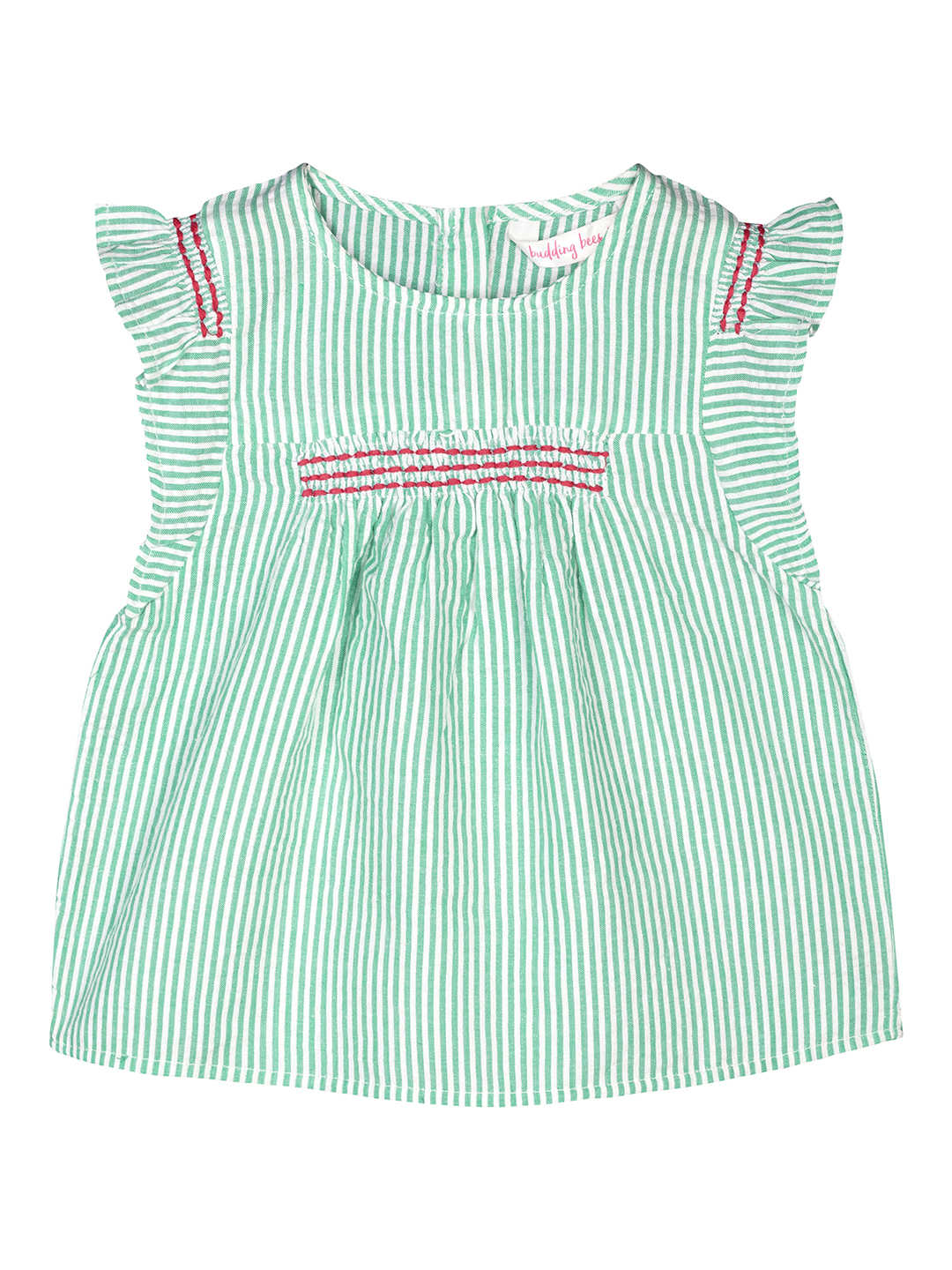 Budding Bees | Budding Bees Infants Girls Striped with Smocked Top-Greeen