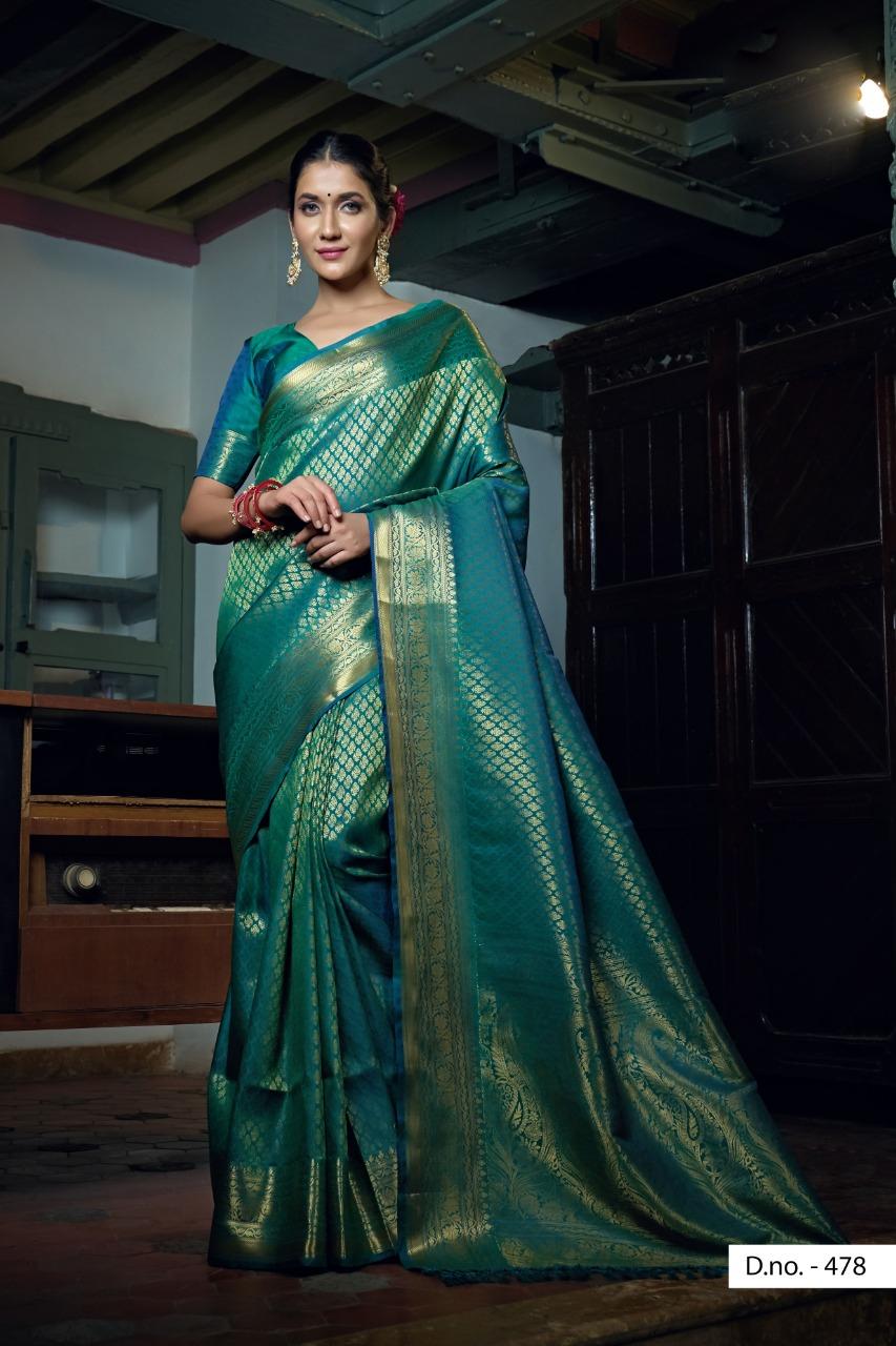 POONAM TEXTILE | Stunning Teal Festive Wear Woven Raw Silk Saree
