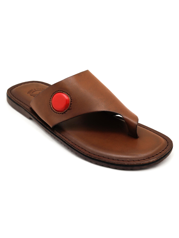 Trends & Trades | Mens Brown Toe Loop Casual Flat Sandals