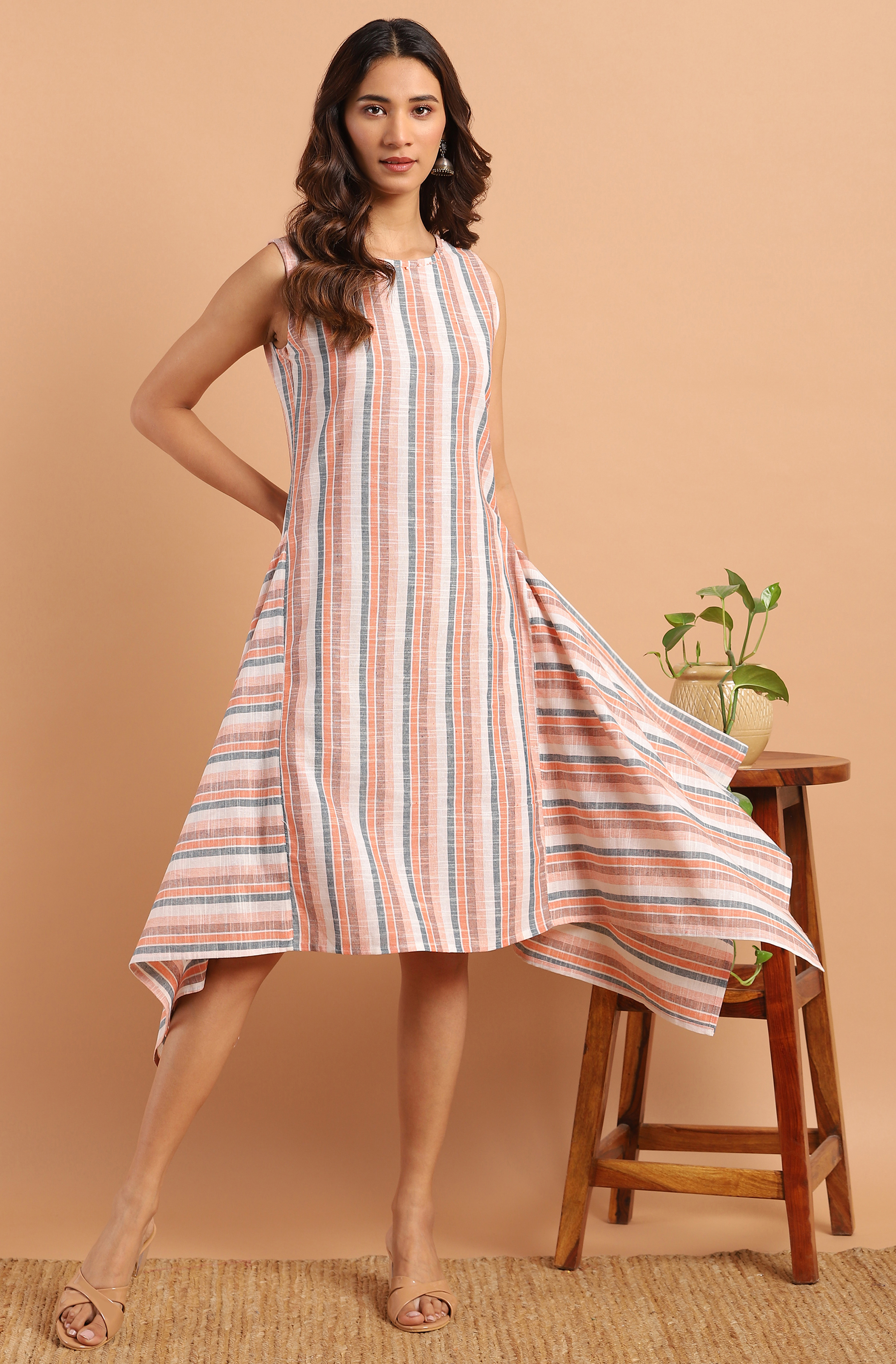 Janasya | Janasya Women's Multicolor Cotton Western Dress