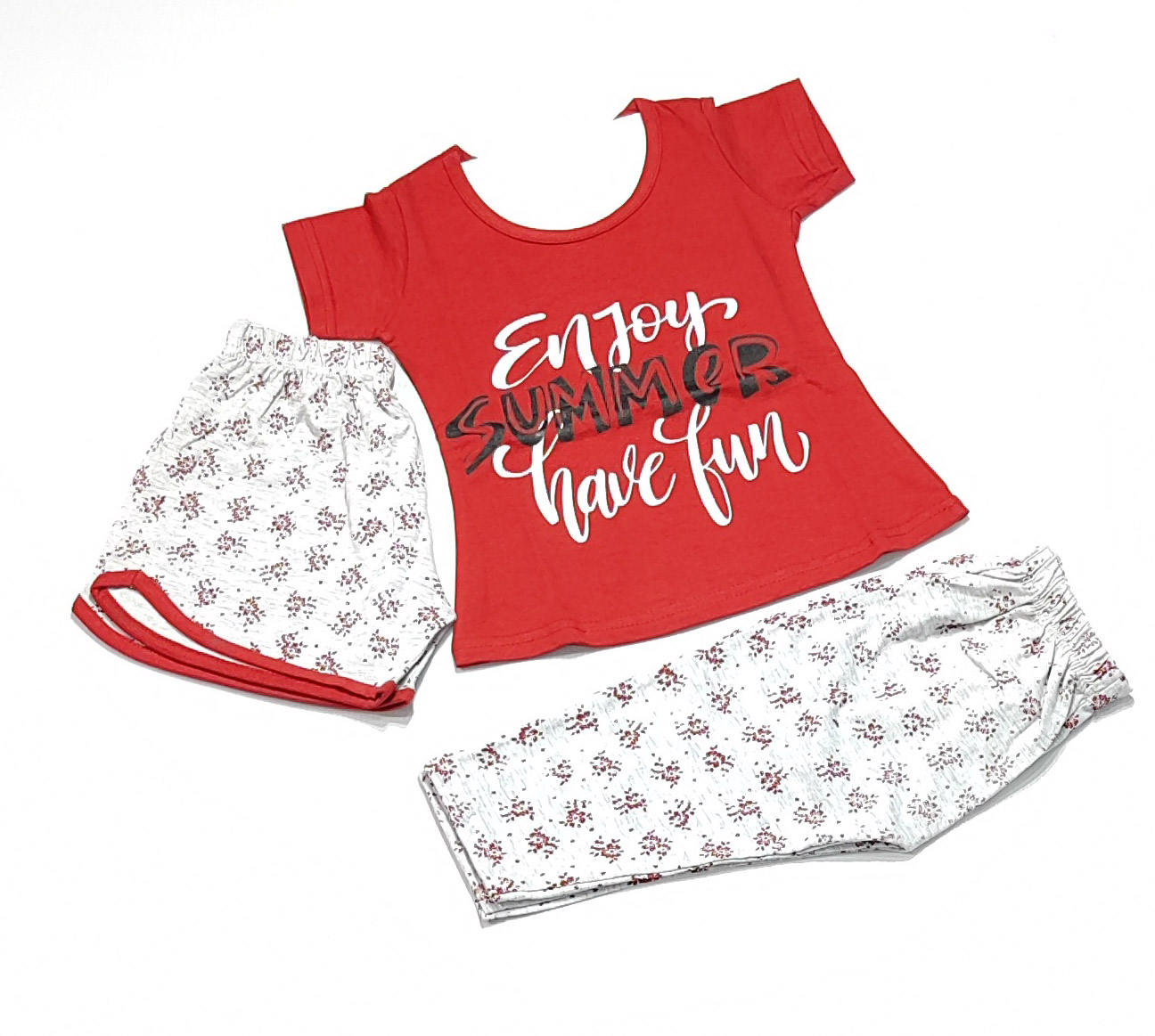 AAAKAR   Girl's Graphic Printed Top, Shorts And Capri Combo Set