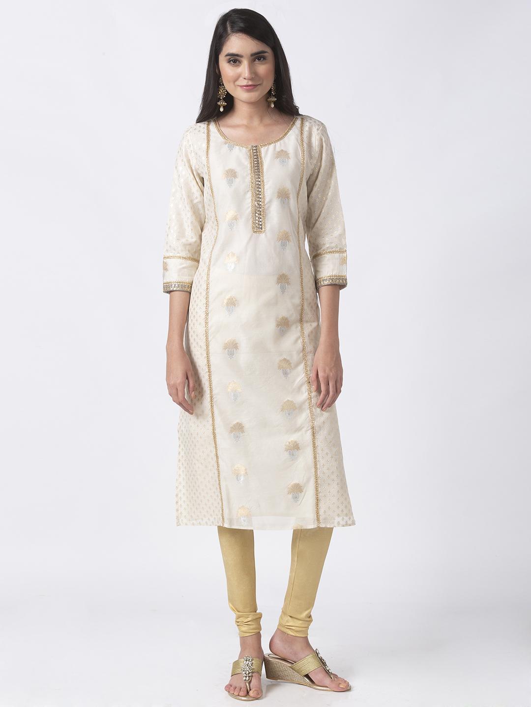 Ethnicity | Ethnicity White Chanderi Jacq Women Kurta