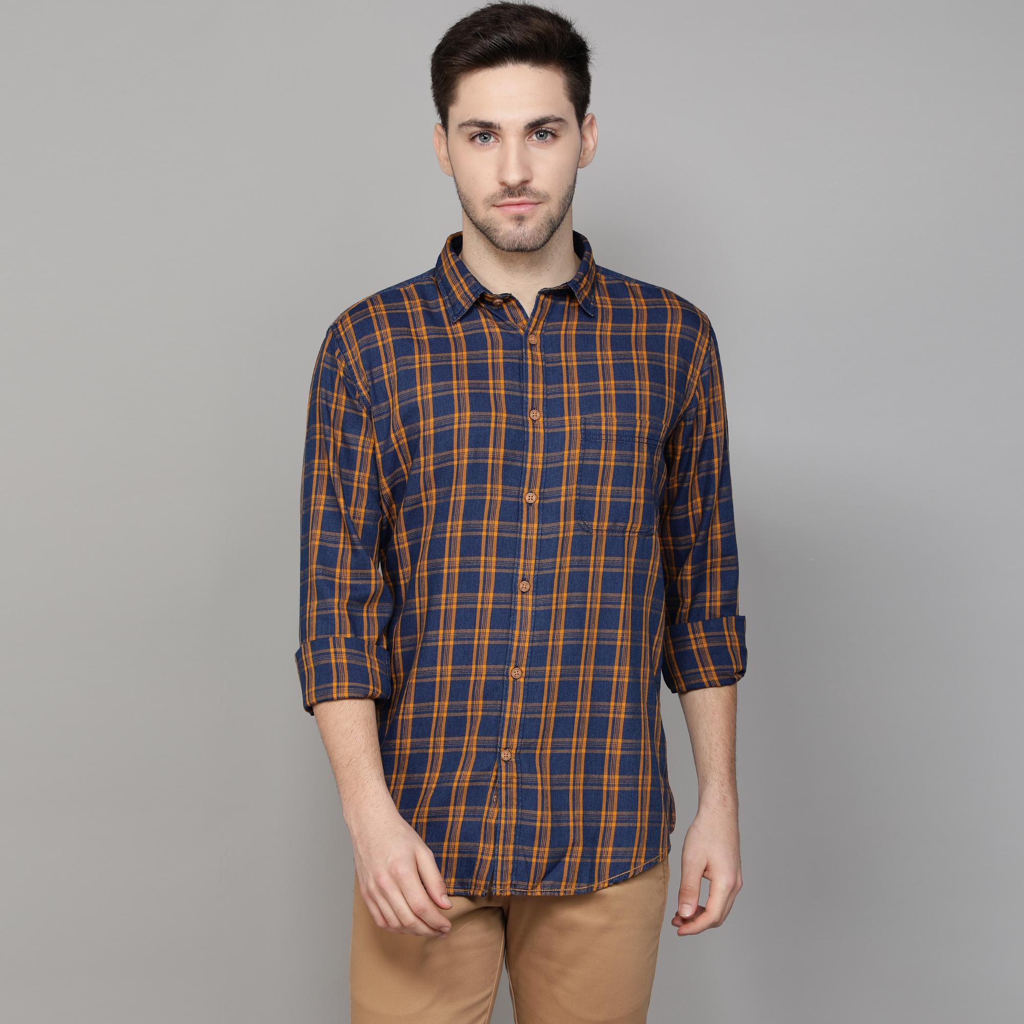 Callino London | Callino London Men's Mustard Smart Fit Checkered Casual Cotton Shirt
