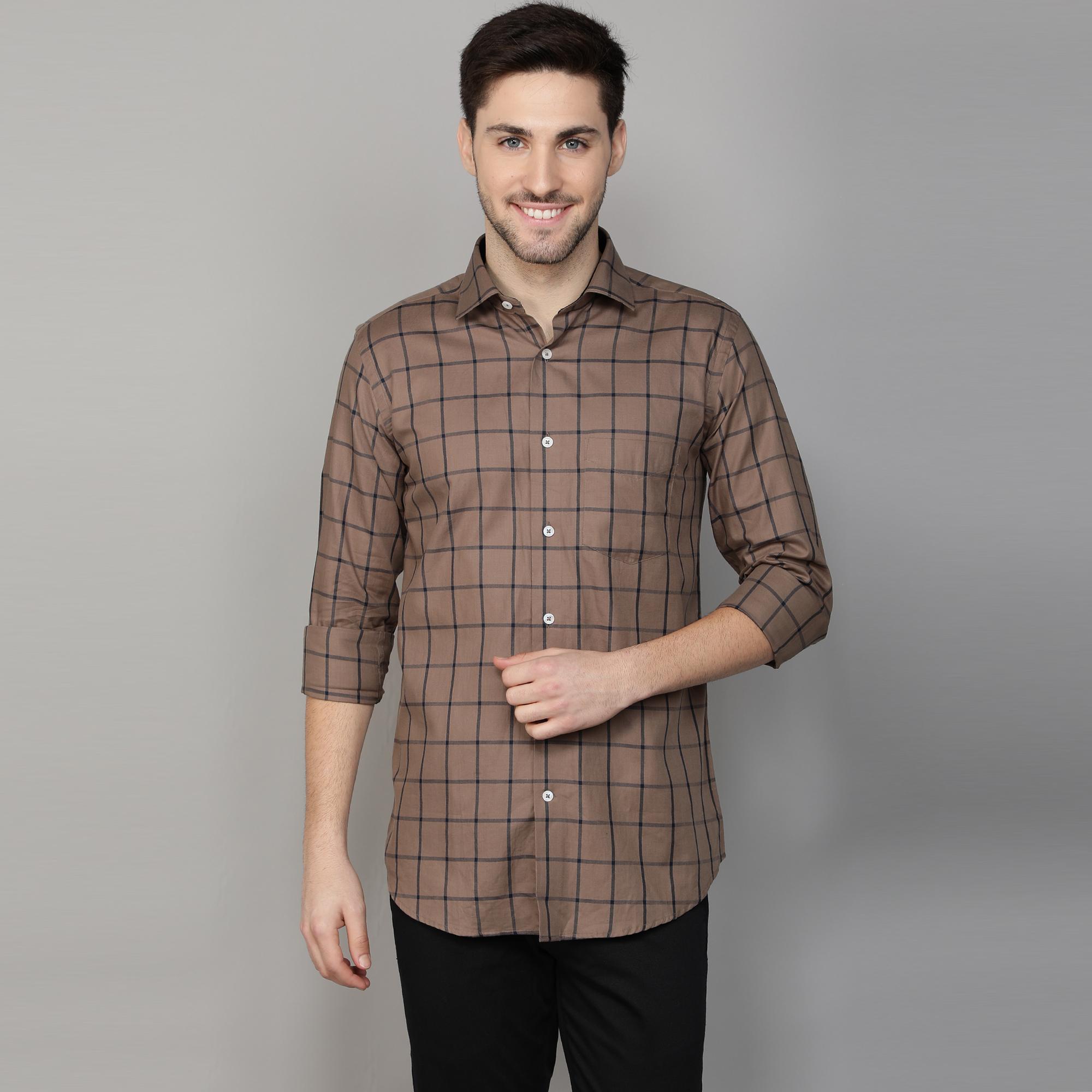 Callino London | Callino London Men's Mouse Smart Fit Checkered Casual Giza Cotton Shirt