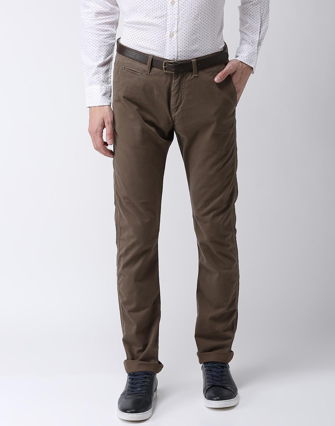celio   Straight Fit Cotton Blend Green Trouser