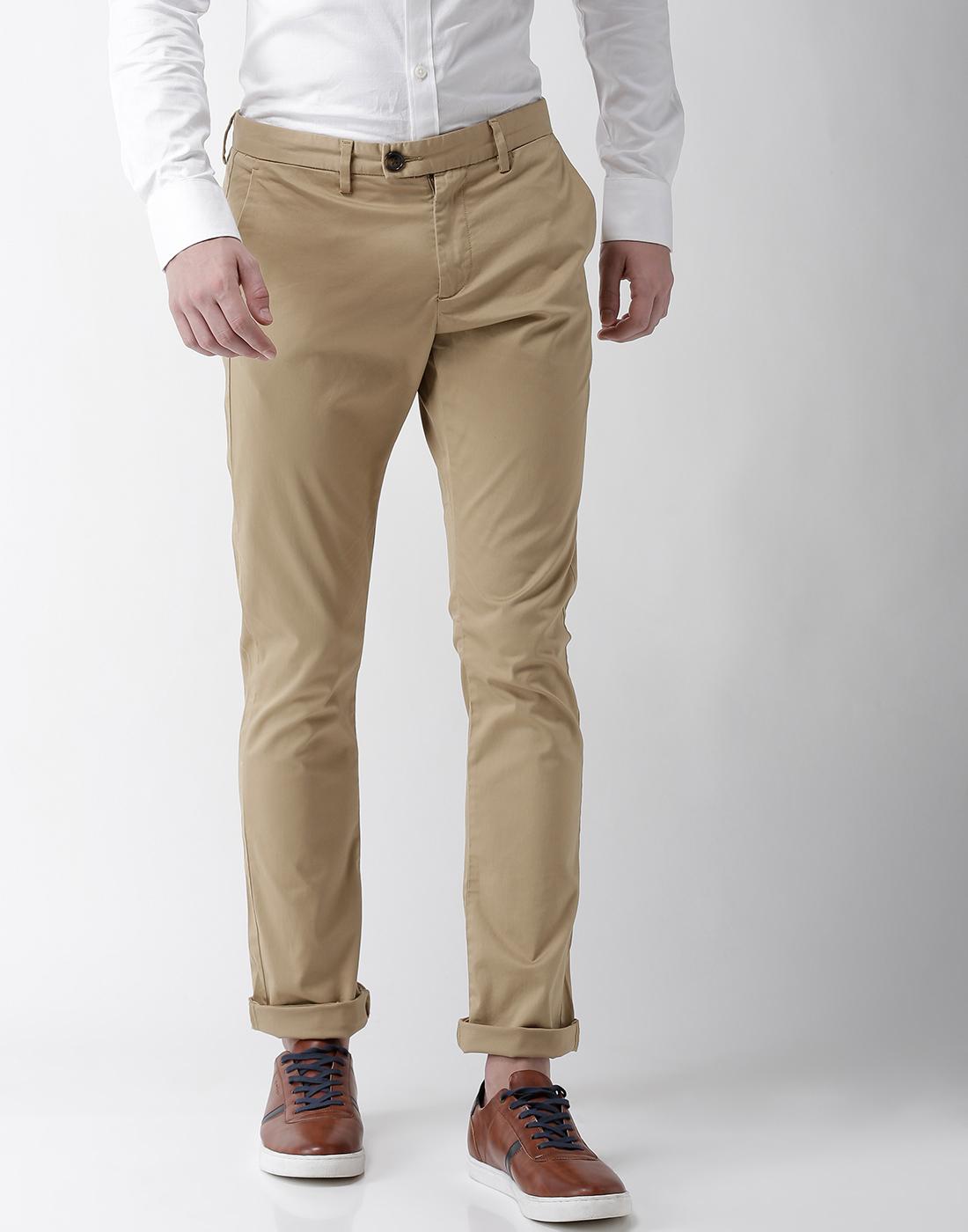 celio   Slim Fit Cotton Blend Beige Trouser
