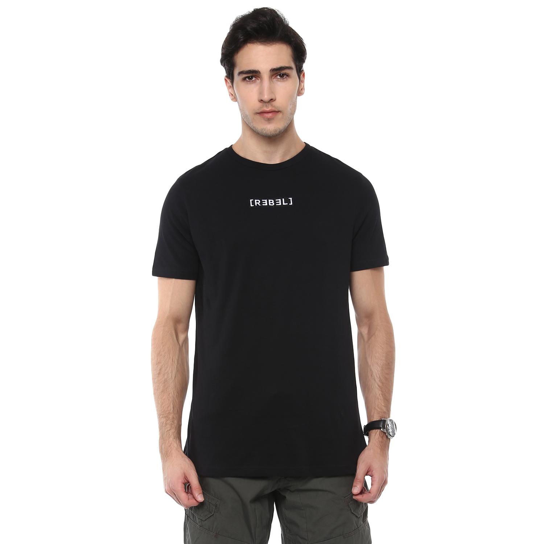 celio | Solid  Black T-Shirts