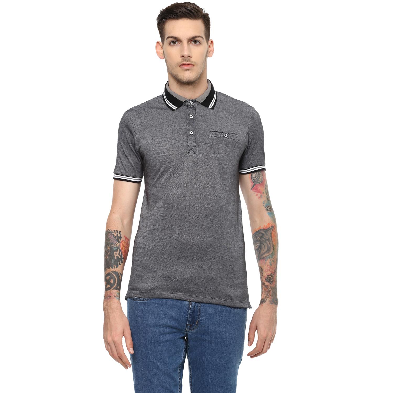 celio   Solid  Grey Polo T-Shirt