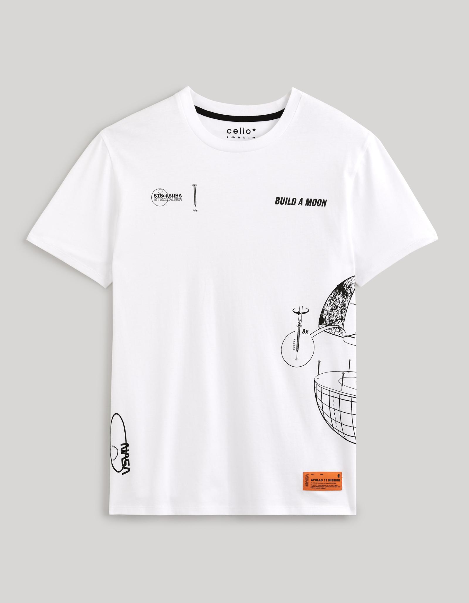 celio   NASA- White Printed T-Shirt