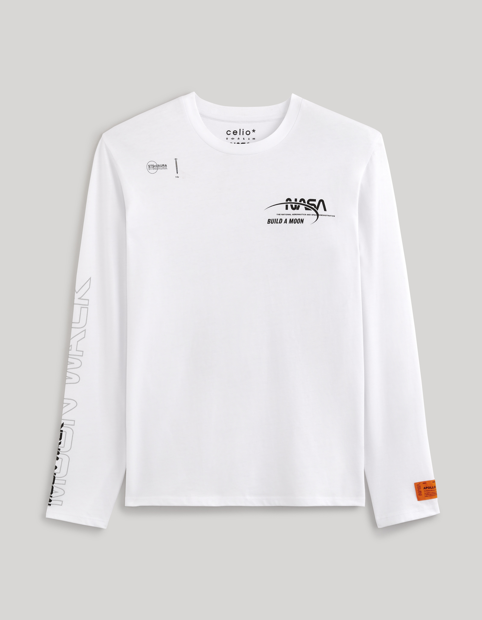 celio   NASA- White full Sleeve Printed T-Shirt