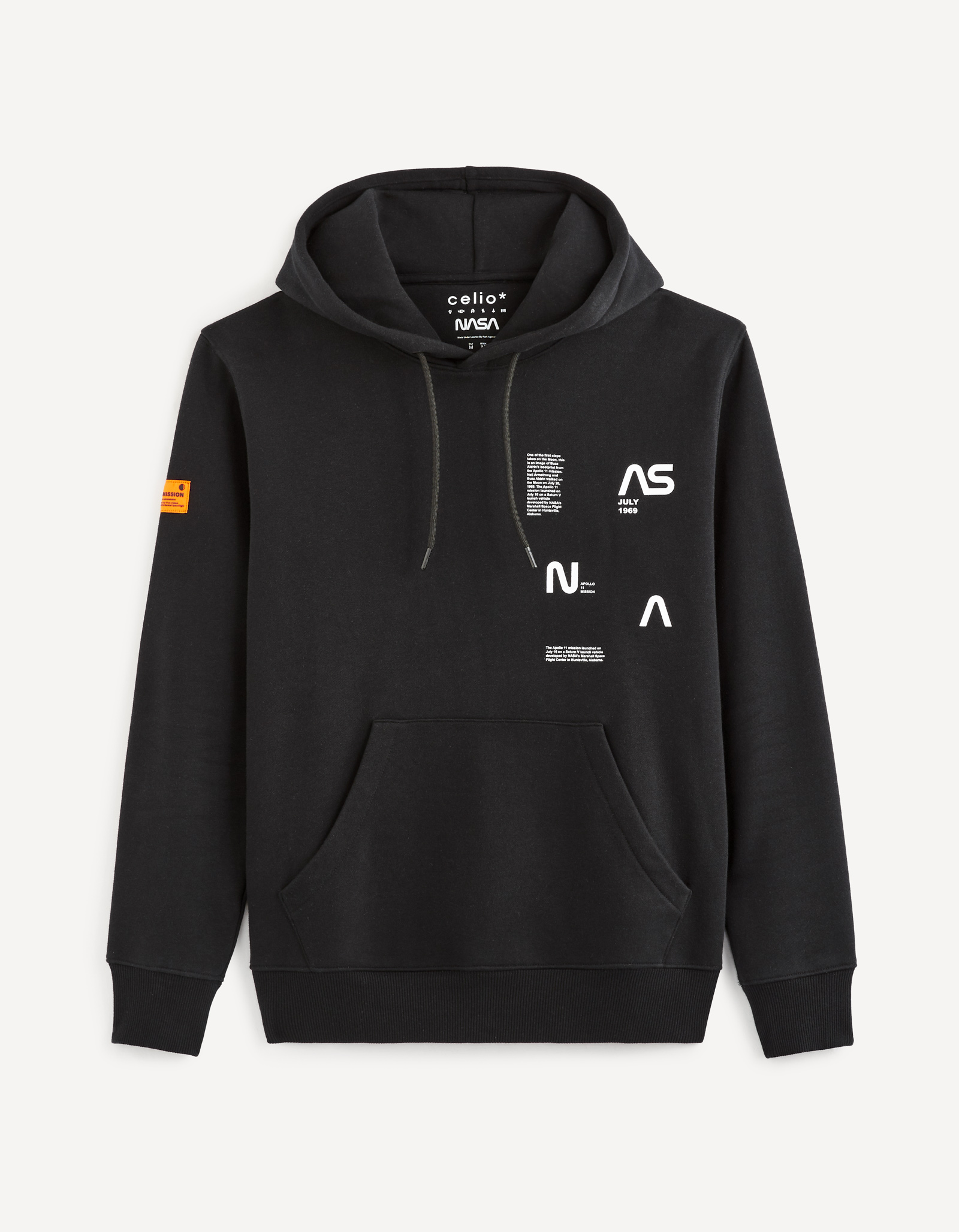 celio | NASA - Black hooded Sweatshirt