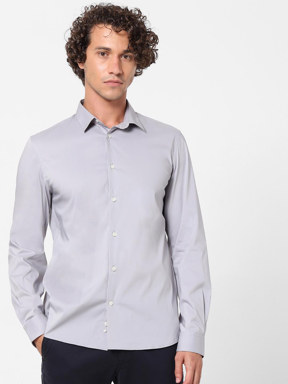 celio   Grey Slim Fit Formal Shirt