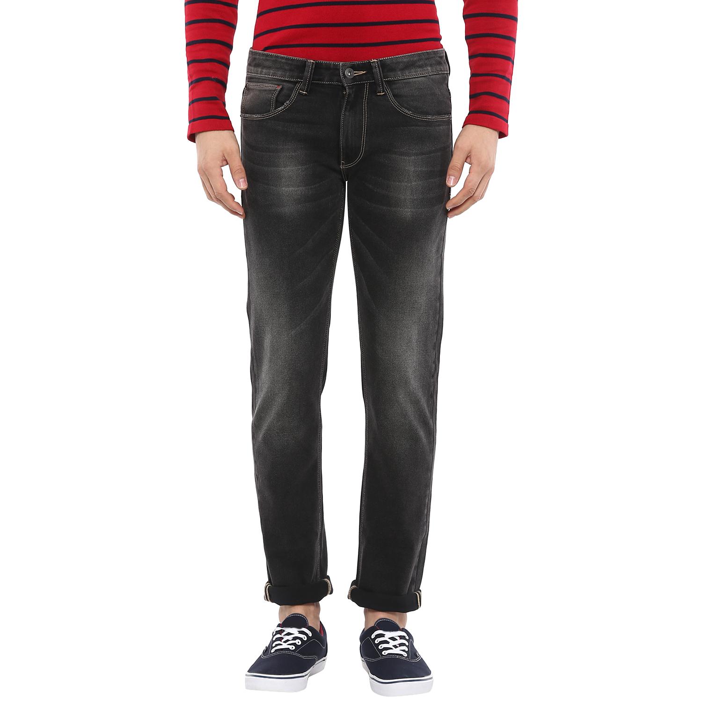 celio   Cotton Blend Straight Fit Black Jeans