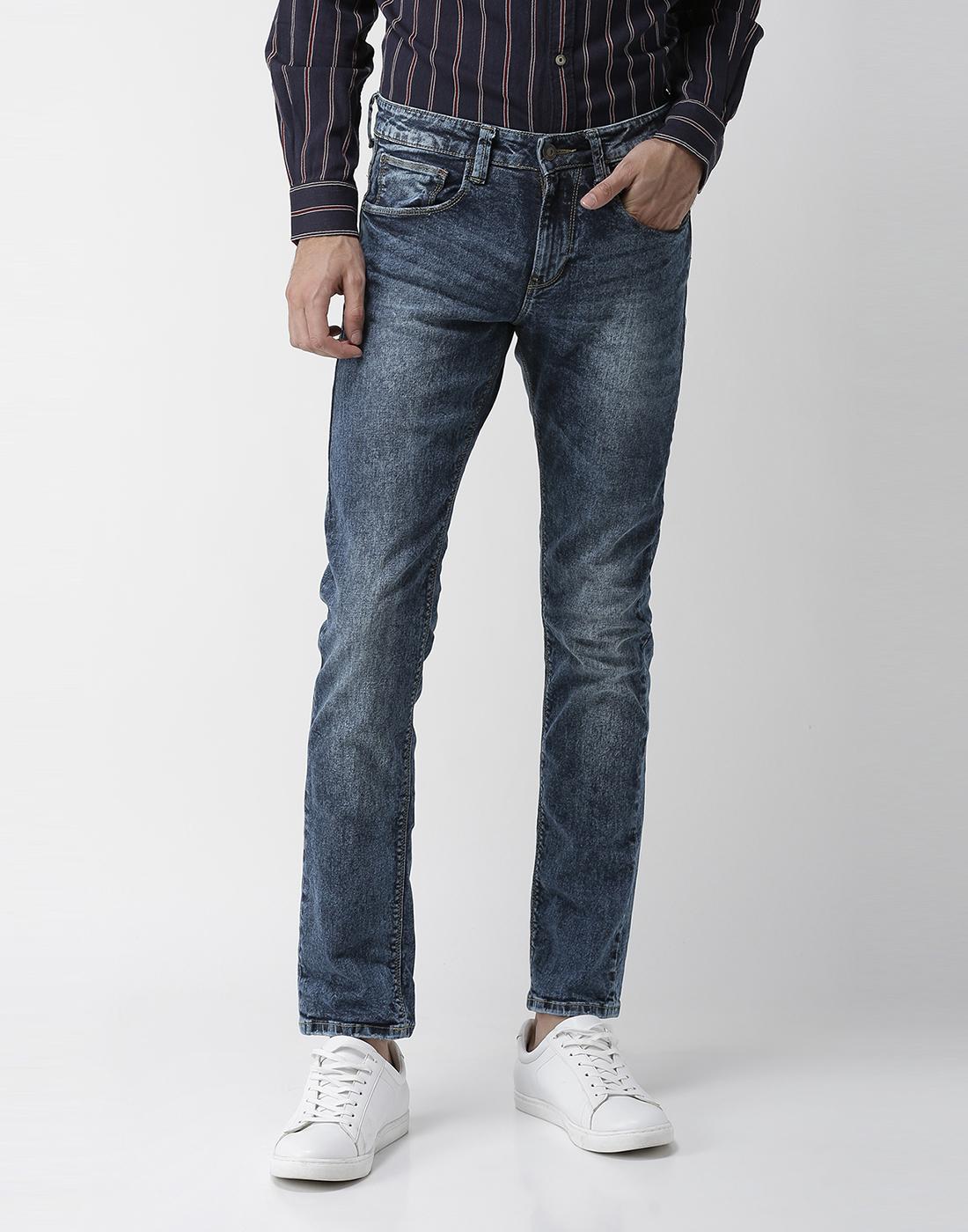 celio | Cotton Blend Slim Fit Dark Blue Jeans