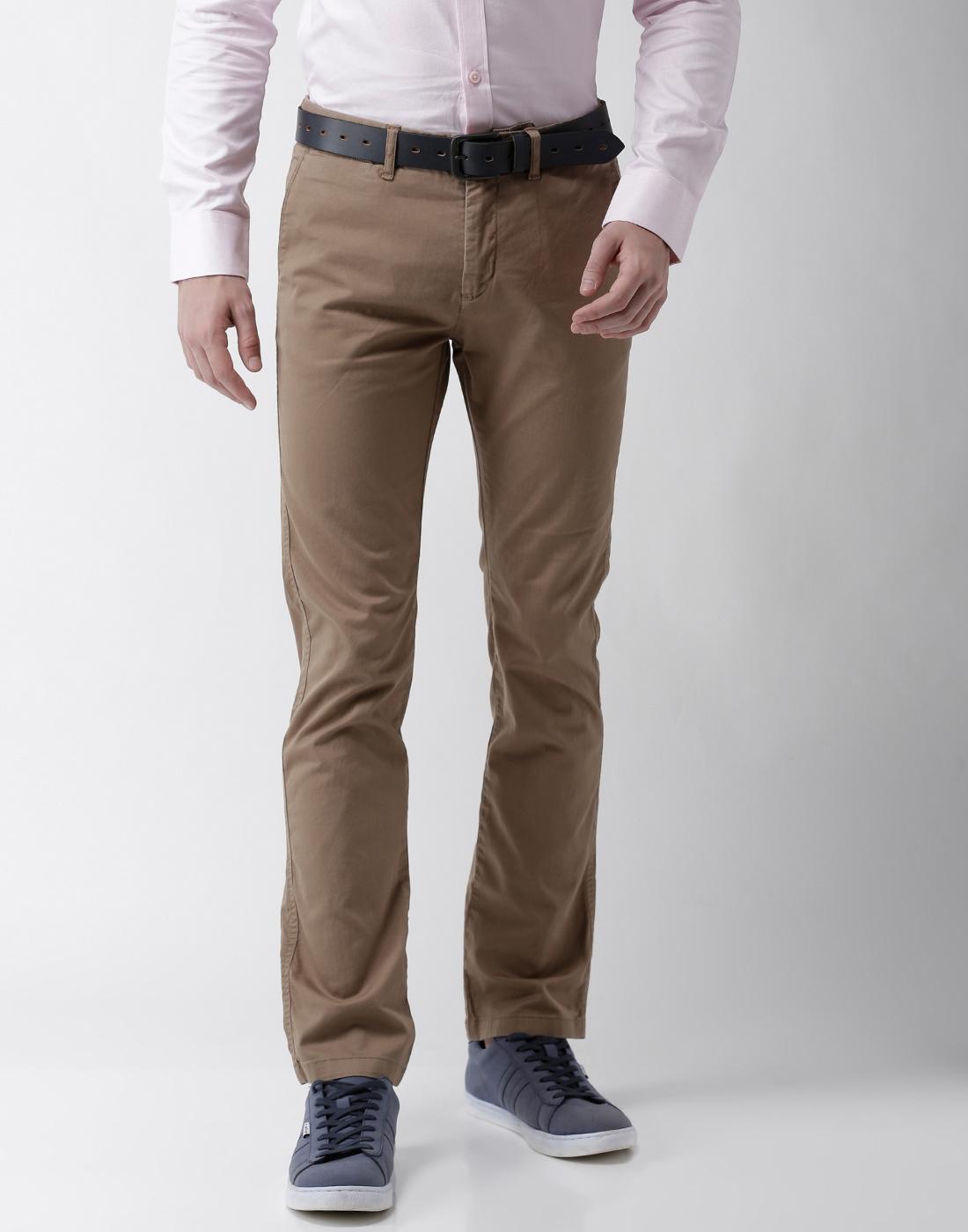 celio | Slim Fit Cotton Blend Beige Trouser