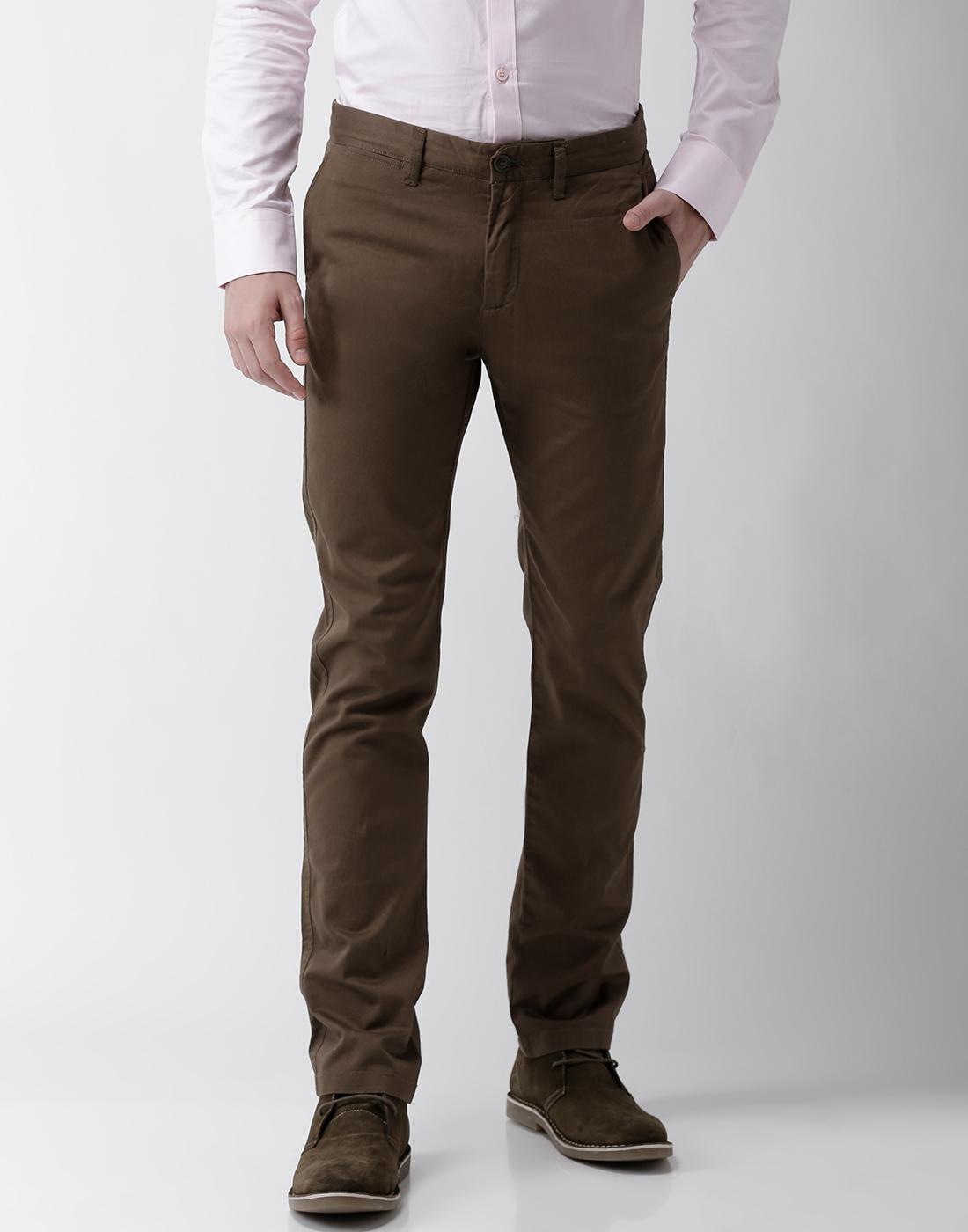 celio | Slim Fit Cotton Blend Khaki Trouser