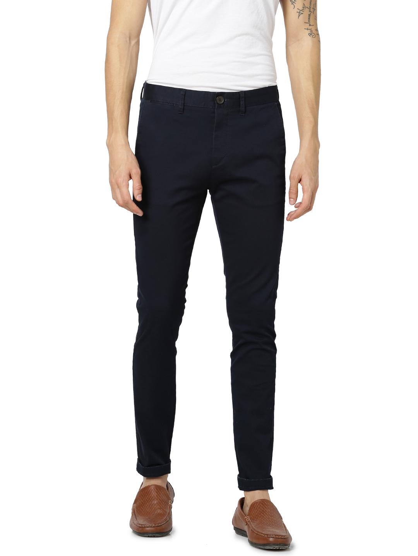 celio | Skinny Fit Cotton Blend Blue Trouser