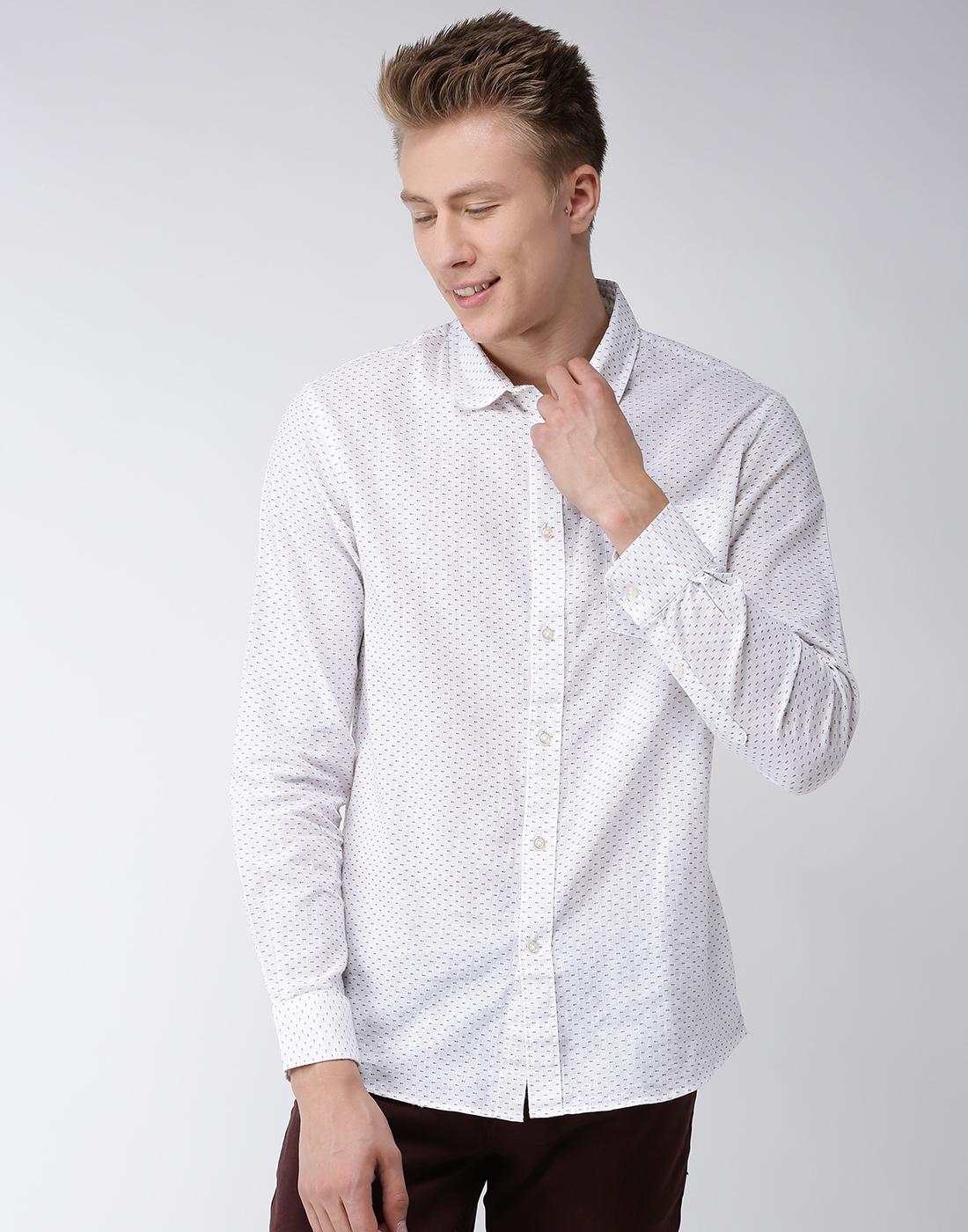 celio | Linen White Casual Shirts