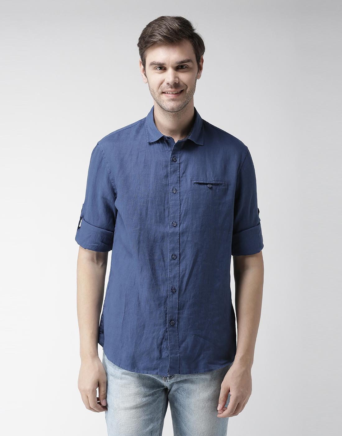 celio |  100% Linen Blue Casual Shirts