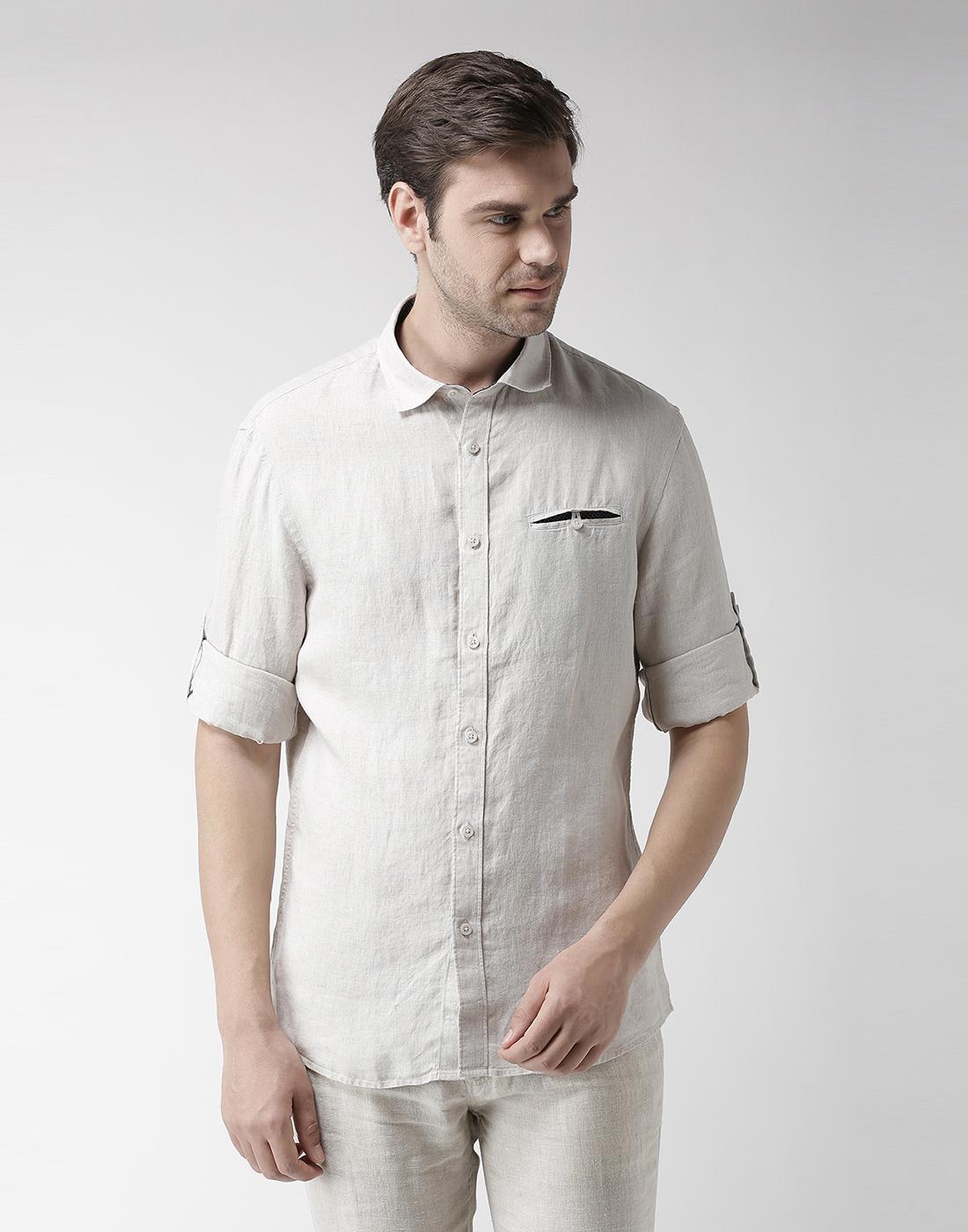 celio |  100% Linen Natural Casual Shirts
