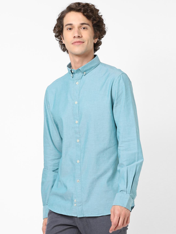 celio | 100% Cotton Slim Fit Blue Shirt