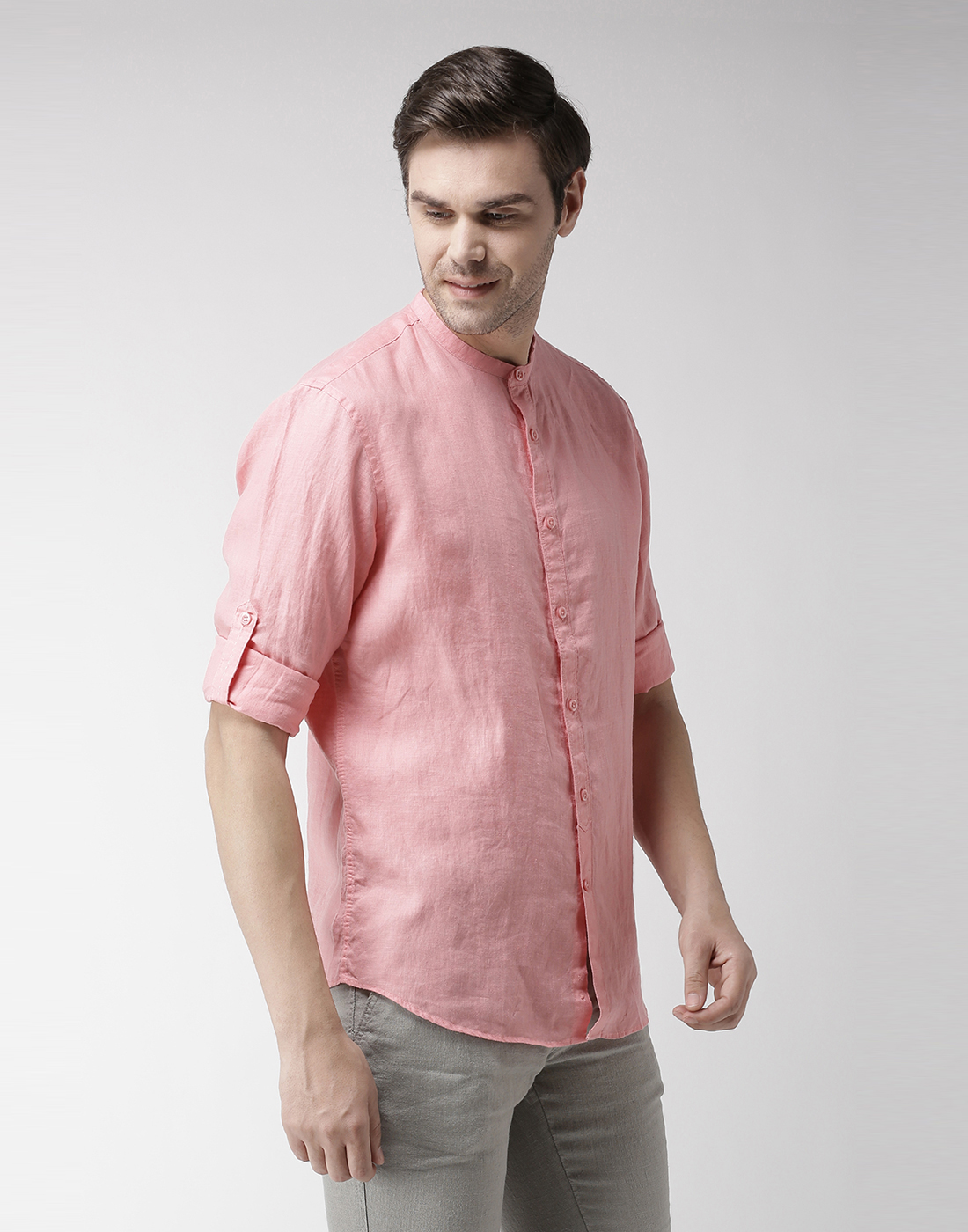 celio    100% Linen Red Casual Shirts