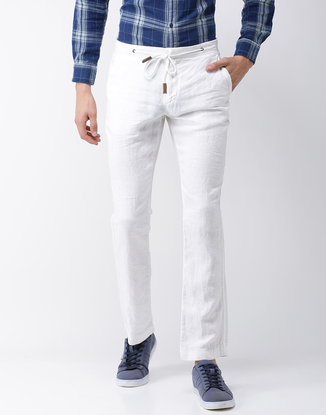 celio   100% Linen Straight Fit White Trouser