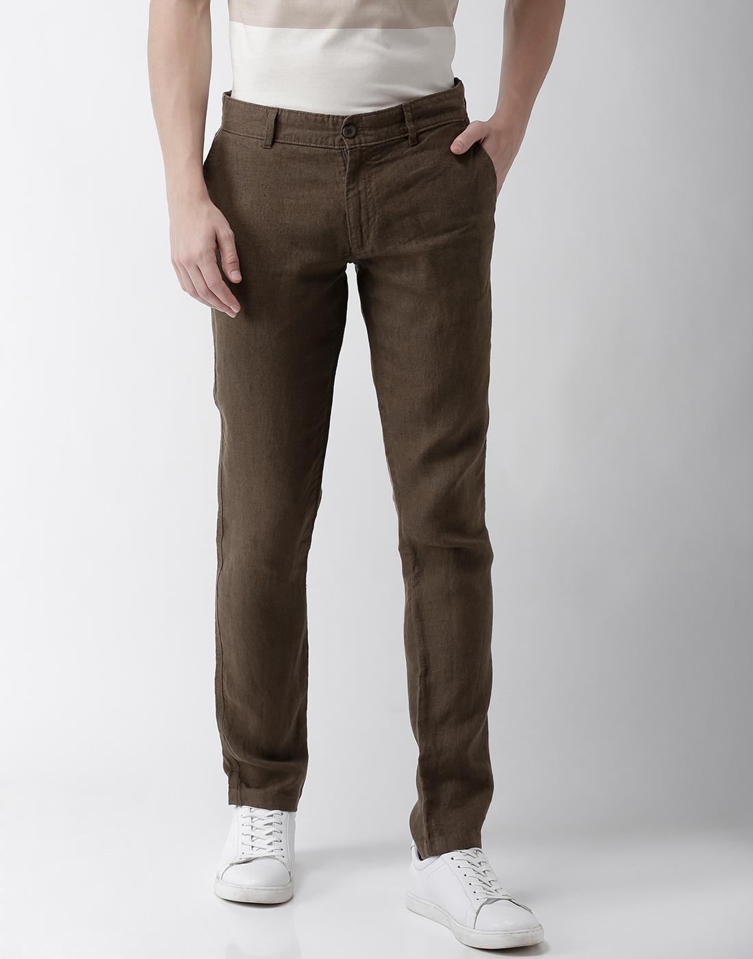 celio | 100% Linen Slim Fit Red Trouser