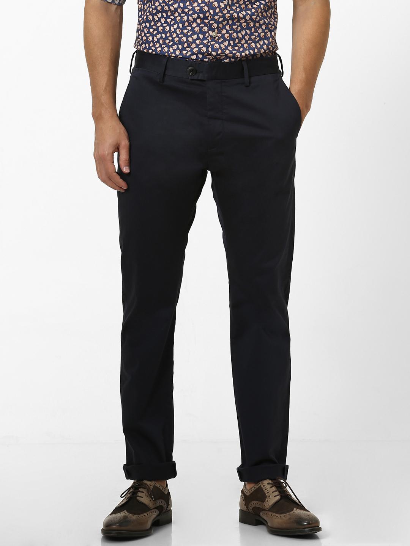 celio   Slim Fit Cotton Blend Blue Trouser
