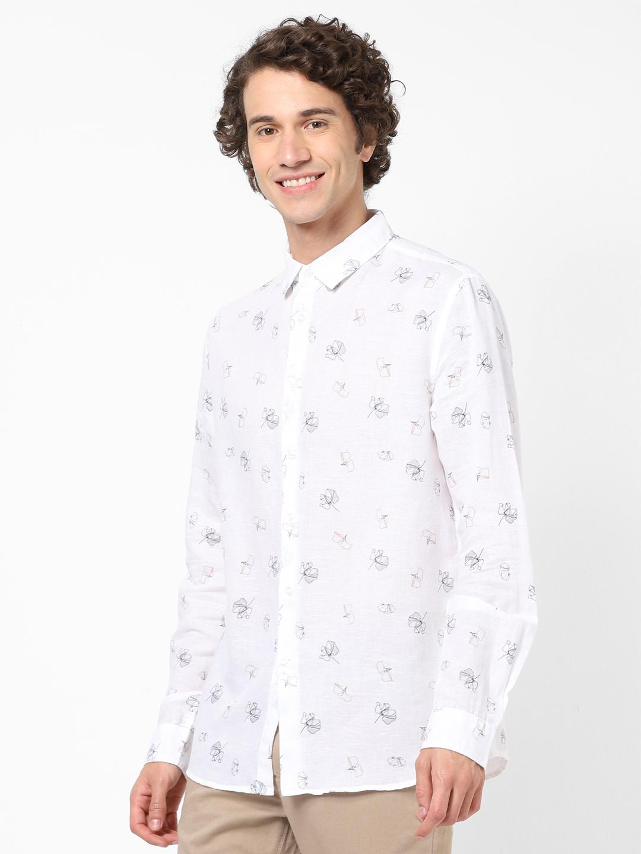 celio   Linen White Casual Shirts