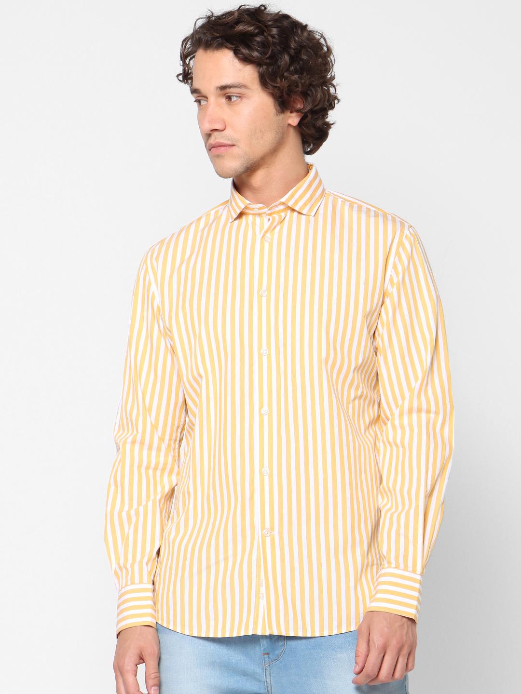 celio | 100% Cotton Regular Fit Striped Shirt